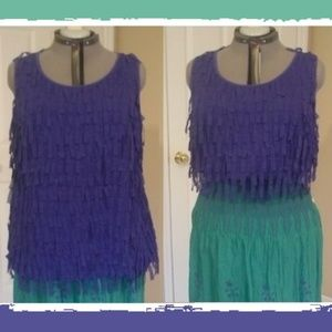 Purplish-Blue Flapper Fringe Multi-Style Tank Top